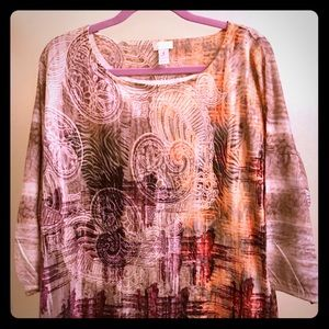 Boho style brown and orange blouse